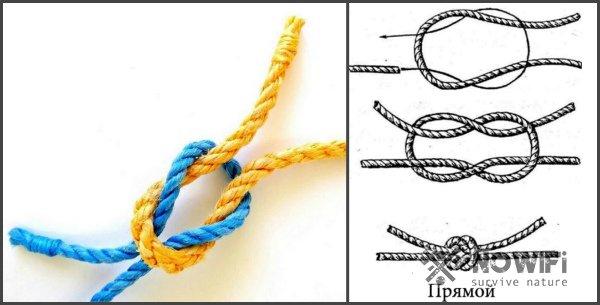 схема вязания прямого морского узла