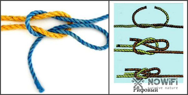 схема вязания рифового морского узла