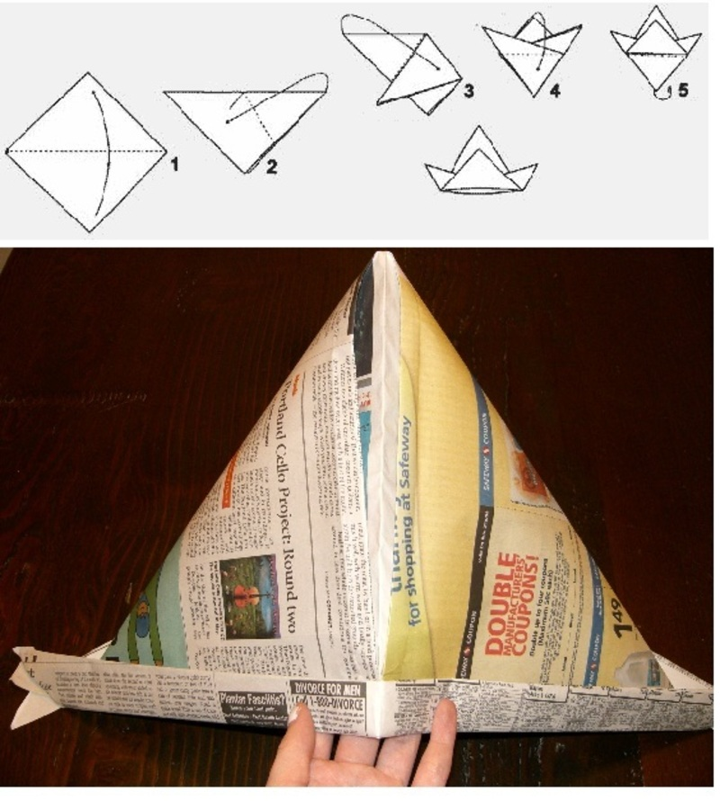 Как из газеты сделать головной убор
