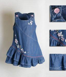 Нарядный джинсовый сарафан для девочки