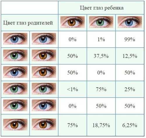 таблица цвета глаз